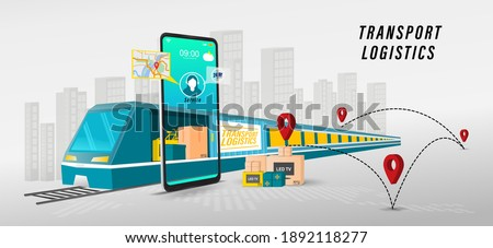 Online delivery transport logistics service concept.  import Integrated warehousing and transportation service. vector illustration