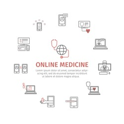 Online diagnosis and treatment. Virtual medical consultation infographic. Vector line icons. infographic set.