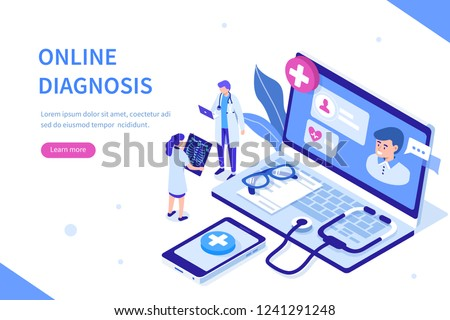 Online diagnosis concept with characters. Can use for web banner, infographics, hero images. Flat isometric vector illustration isolated on white background.