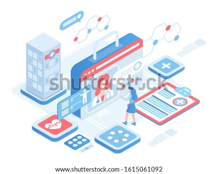Online diagnosis isometric vector illustration. Female patient on professional consultation. Digital platform for healthcare. Telemedicine. Medical services cartoon conceptual design element