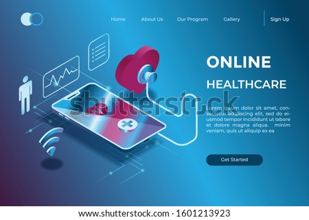 online diagnosis through a gadget with a stethoscope symbol in isometric 3d illustration
