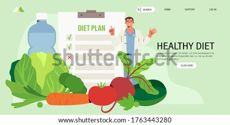 Online dietitian consultation. Concept of healthy eating, personal diet or nutrition plan from dieting expert or online nutrition course or marathon preparation.  Can be used for social media banner, web page, flyer.