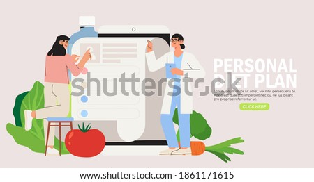 Online dietitian consultation. Concept of healthy eating, personal diet or nutrition plan from dieting expert or online nutrition course or marathon preparation. Can be used for social media banner.
