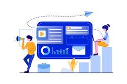 Online digital marketing team attracting customers on social networks vector illustration