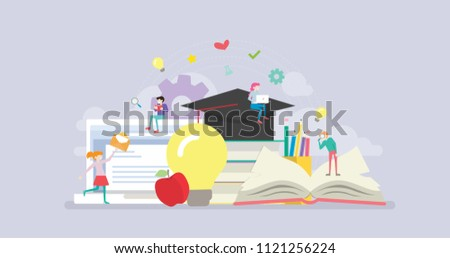 Online Distance Learning Education Tiny People Character Concept Vector Illustration, Suitable For Wallpaper, Banner, Background, Card, Book Illustration, And Web Landing Page - Shutterstock ID 1121256224