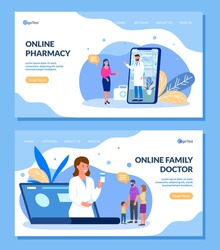 Online doctor and pharmacist for family patient vector illustration internet website banner landing page set. Medical assistance, prescription, treatment, pills and drugs via phone, laptop.