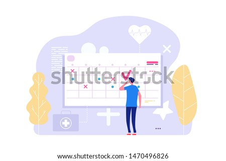 Online doctor appointment. Vector man and calendar, planning board, agenda. Illustration of doctor appointment, agenda therapy planning
