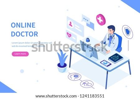 Online doctor at work Can use for web banner, infographics, hero images. Flat isometric vector illustration isolated on white background. #1241183551