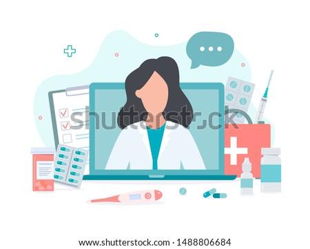 Online doctor concept. Expert advice via your computer. Flat vector illustration.