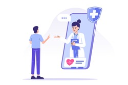Online doctor concept. Professional female doctor giving advice to patient through smartphone. Telemedicine and online healthcare. Telehealth. Video call to doctor. Modern isolated vector illustration