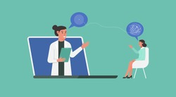 online doctor, healthcare and medical consultation or psychological help and support service concept, telemedicine, psychologist and patient, depression and stress, flat vector illustration