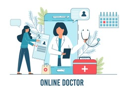 Online Doctor, Telemedicine, Medical Service Online for Patients. Vector illustration Online medical concept. Medical Consultation by Internet with Doctor. Telemedicine concept, Healthcare service.