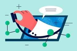 Online doctor, telemedicine, Virtual healthcare concept. Hand of doctor with stethoscope protruding from laptop screen to examine remote patient and make online consultation illustration
