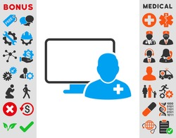 Online Doctor vector icon. Style is bicolor flat symbol, blue and gray colors, rounded angles, white background.