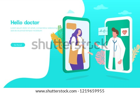 Online doctor vector illustration concept,  patient consultation to the doctor via smartphone, can use for, landing page, template, ui, web, mobile app, poster, banner, flyer  #1219659955