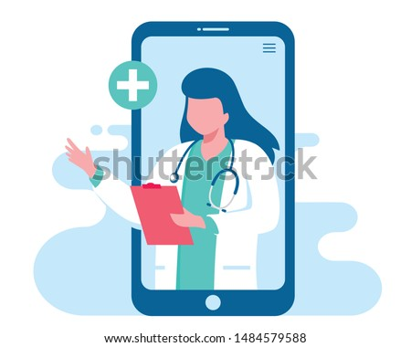 Online doctor women healthcare concept icon set. Doctor videocalling on a smartphone. Online medical services, medical consultation. Vector illustration for websites landing page templates