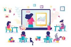 Online early childhood education courses. Free online preschool games, homeschooling, e-learning. Woman teacher on laptop screen.Group of preschoolers at distance learning. Kids in Kindergarten.Vector