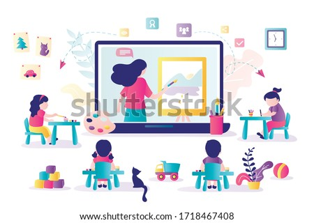 Online early childhood education courses. Free online preschool games, homeschooling, e-learning. Woman teacher on laptop screen.Group of preschoolers at distance learning. Kids in Kindergarten.Vector