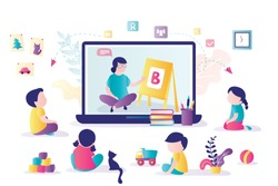 Online early childhood education courses. Free online preschool games, homeschooling, elearning. Woman teacher on laptop screen. Group of preschoolers at distance learning. Kids in Kindergarten.Vector