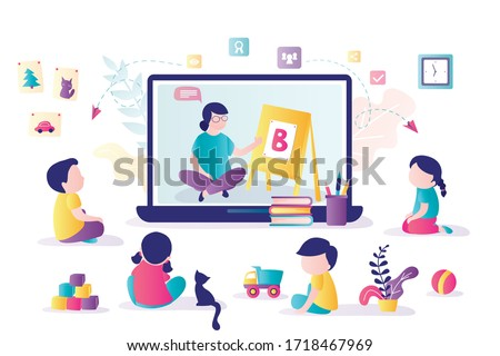 Online early childhood education courses. Free online preschool games, homeschooling, elearning. Woman teacher on laptop screen. Group of preschoolers at distance learning. Kids in Kindergarten.Vector