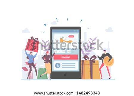 Online Ecommerce Shop Vector Illustration Concept Showing people using mobile phone to purchase at Ecommerce shop, Suitable for landing page, ui, web, App intro card, editorial, flyer, and banner.