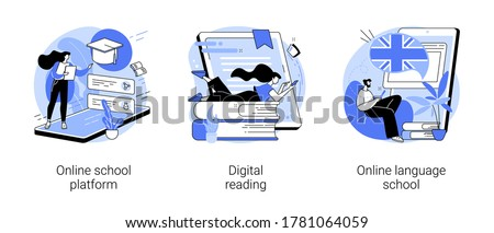 Online education abstract concept vector illustration set. Online school platform, digital reading, language school, homeschooling, education platform, recorded video classes abstract metaphor.