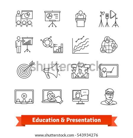 Online education & Academic presentation. Thin line art icons set. E-learning, office training, coaching. Linear style symbols isolated on white.