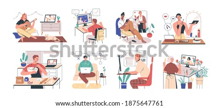 Online education and e-learning concept. Set of people learning online courses and studying makeup, playing guitar, style, UX and UI. Colored flat vector illustration isolated on white background