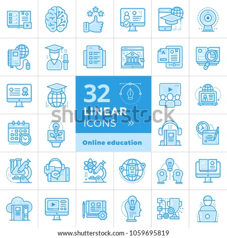 Online education and e-learning vector icons set. Suitable for banner, mobile application, website.