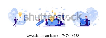 Online education and exam test concept. Vector flat people illustration set. Collection human character with laptop computer, lightbulb, book element. Design for college, school, academy course banner Stok fotoğraf ©
