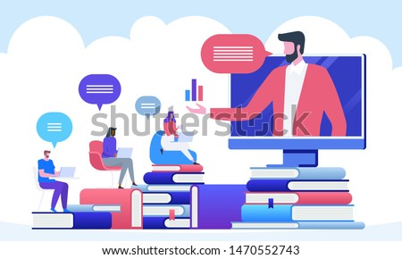 Online education and graduation. Online teacher on computer monitor or smartphone screen. Webinar and video seminar learning vector concept.