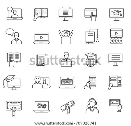 Online education and learning thin line icons set. Study online concept; web courses and video tutorials signs and symbols collection in linear style, vector illustration