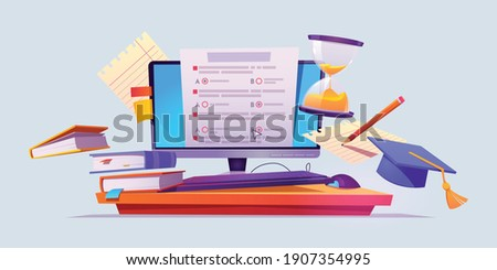 Online education and online exams vector illustrator poster design. E-Learnning, Degree, Graduate, online exam paper, Books, Computer, Device, Pencil and Papers Photo stock ©