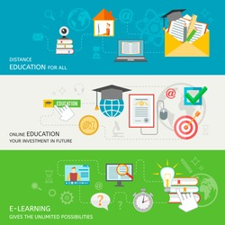 Online education banner set with distance e-learning elements isolated vector illustration