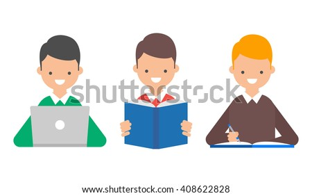 Online education, book reading, studying vector illustration