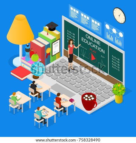 Online Education Concept 3d Isometric View for Marketing, Promotion E-learning Service Course School and University. Vector illustration of Training, Teaching and Learning