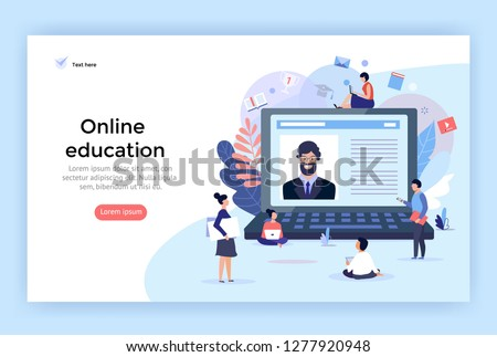Online education concept illustration, perfect for web design, banner, mobile app, landing page, vector flat design #1277920948