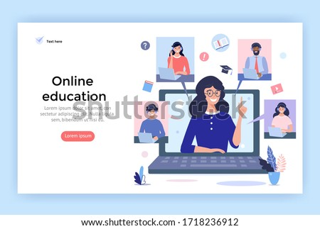 Online education concept illustration. Smiling people using  headphones  for a video call. Perfect for web design, banner, mobile app, landing page, vector flat design.