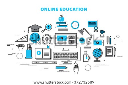 Online education concept in thin flat, linear style.
