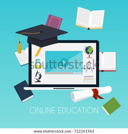 Online education concept. Science concept with book computer and studying icons. E-learning. Flat design modern vector illustration concept.