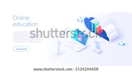 Online education concept vector illustration in isometric design. Internet distant training and courses on learning or educational platform. Website template.