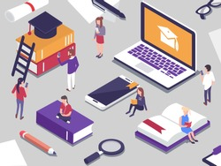 Online education concept with people.  Different students study together. Flat  isometric vector illustration.