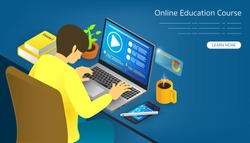 Online Education course Study From Remote Area by Online Application by Various Devices, Stylus, Laptop and Smartphone with Internet Signal On Workstation Isometric View Vector Graphics Banner Design