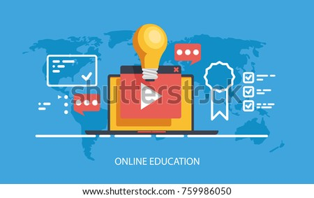 Online education courses and training vector concept banner, Internet training, distance education at home flat illustration