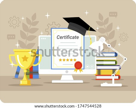 Online education, courses. Obtaining a diploma, online certificate. Graduation in college. A computer with a book, a cup and a graduation hat. Vector illustration in a flat style isolated.