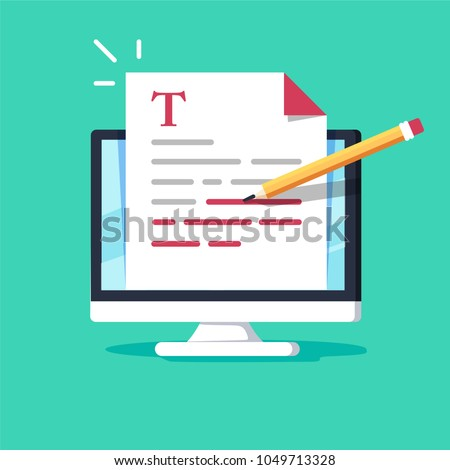 Online education, creative writing and storytelling, copywriting concept, editing text document, distant learning, vector illustration. Correct errors Proofreader checks transcription written text.