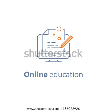 Online education, distance learning, copywriting concept, submit content, creative writing, exam preparation, storytelling, vector line icon, thin stroke