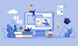 Online Education, E-Learning, E-Library via Digital Device. Educational Application, Video Tutorials. Cartoon Students Use Laptop and Wi-Fi. Electronic Graduation Certificate. Vector Flat illustration