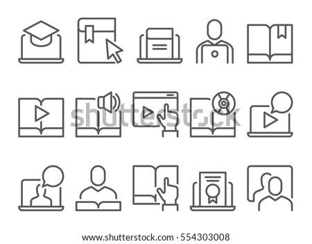 Online education e-learning line flat video tutorial training icons set
