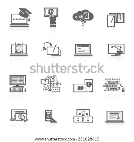 Online education e-learning video tutorial training black icons set vector illustration